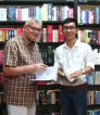 With my friend Mr. Eugene on celebrating my birthday, 2015. Two of us bookish people discussed books at a downtown bookstore.